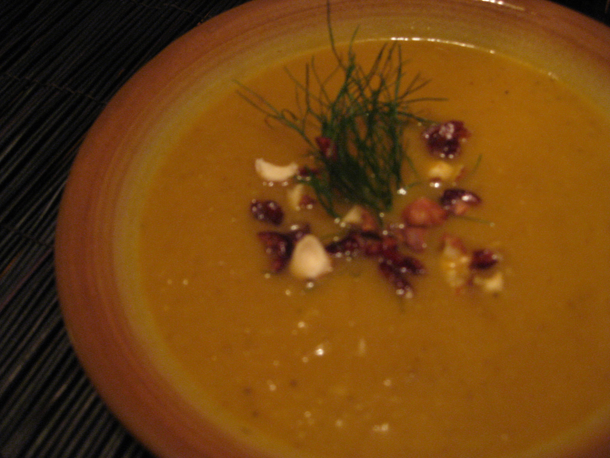 Roasted Fennel Soup with dried cranberries and chopped hazelnuts ...