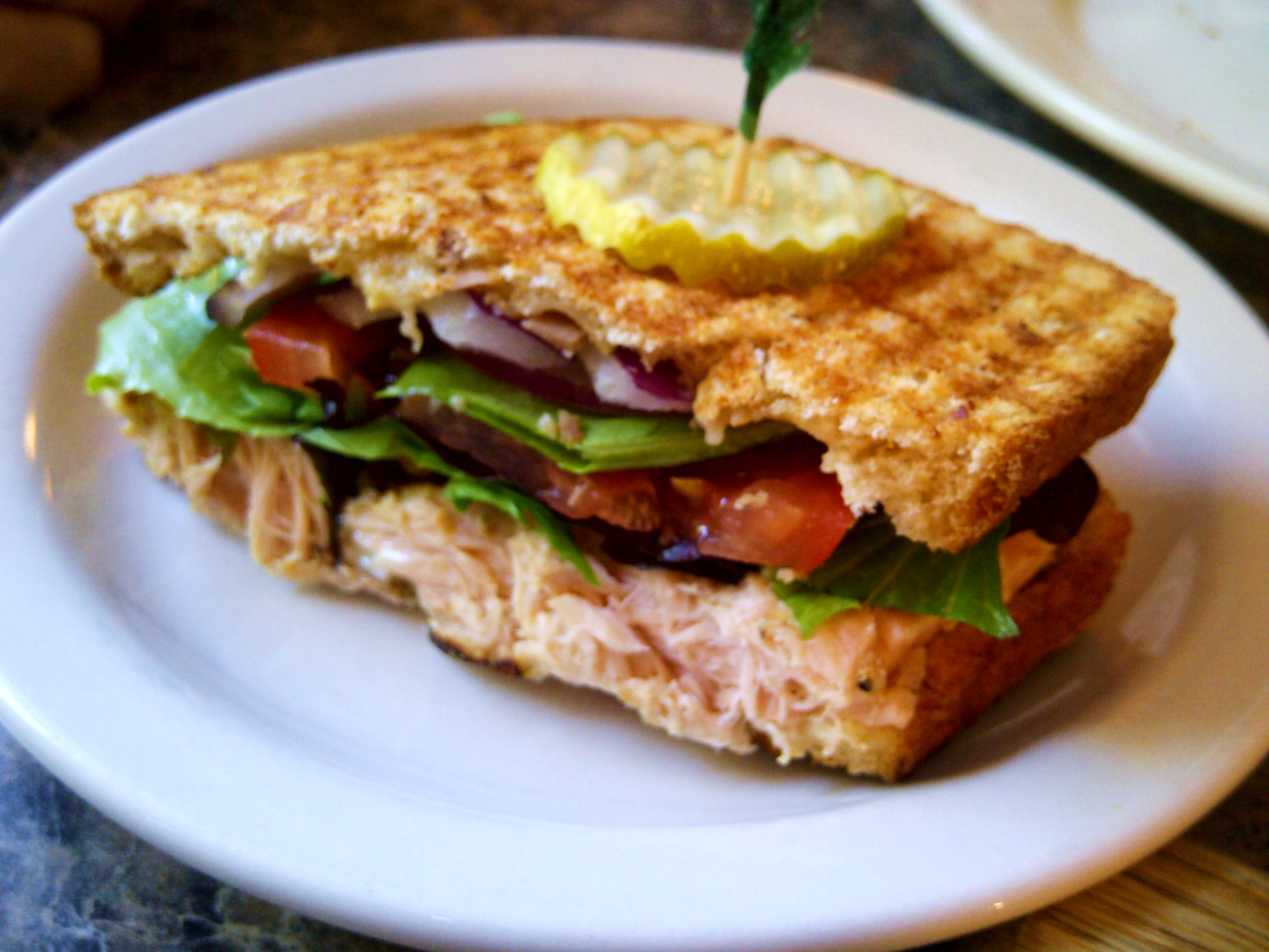 grilled salmon and brie panini. Black Bedroom Furniture Sets. Home Design Ideas