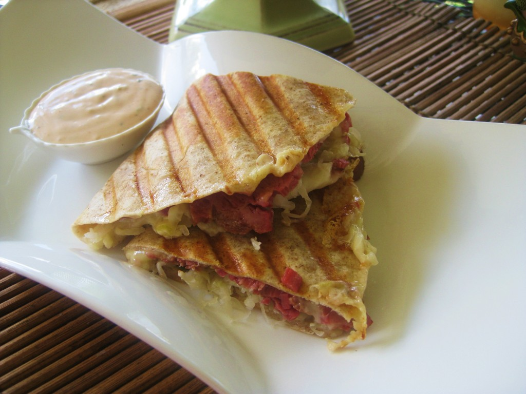Reuben Quesadilla with homemade thousand islands dressing – Savoring ...
