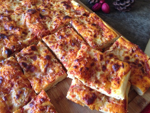 Sicilian pizza cut